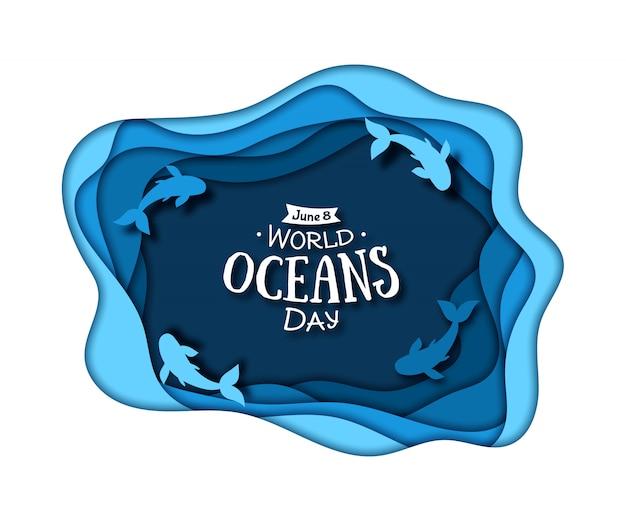 世界海洋デー。海の波と魚の青い紙アート