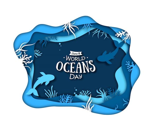 世界海洋デー。海の波と魚と植物のブルーペーパーアート