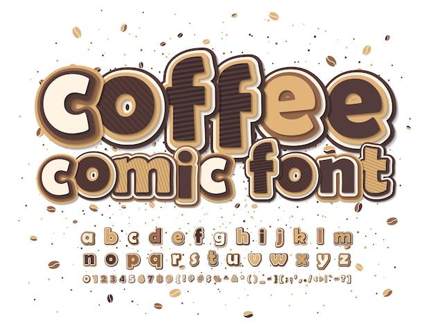 Комикс шрифт. коричневый и бежевый мультфильм алфавит