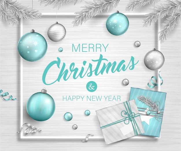 クリスマスの背景にギフトボックス、木の枝と花輪のつまらないもの