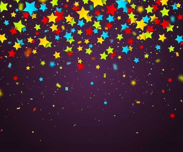 星のカラフルな紙吹雪。休日の背景