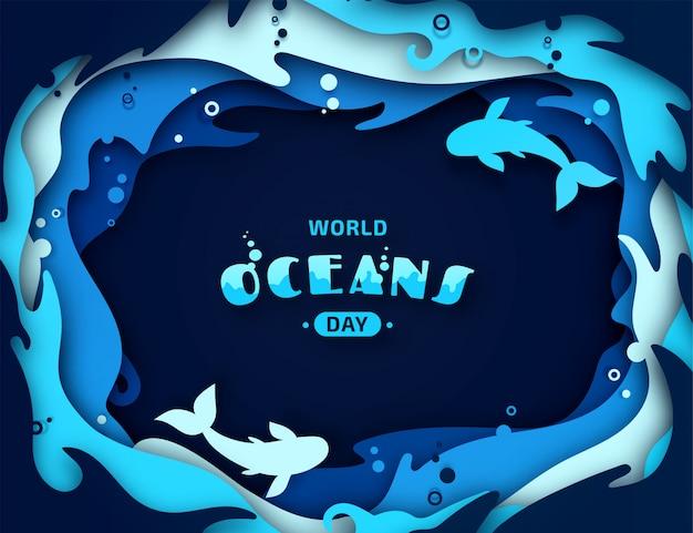 世界海洋デー、ペーパーアート。海の波と魚の折り紙。
