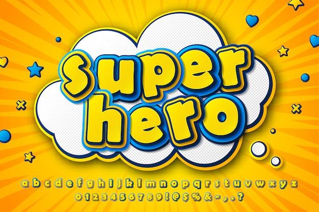漫画フォント、黄青文字の子供の漫画のアルファベット