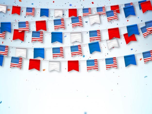 アメリカ国旗の花輪。祝うバナー