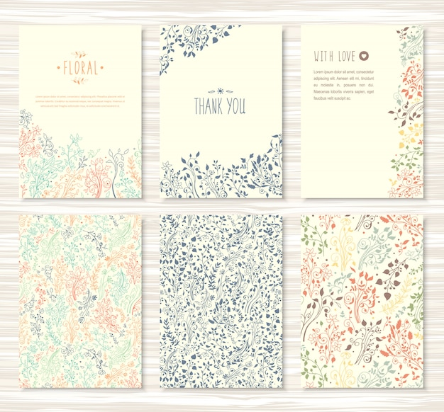 Флаеры, брошюры с цветочным рисунком, листья