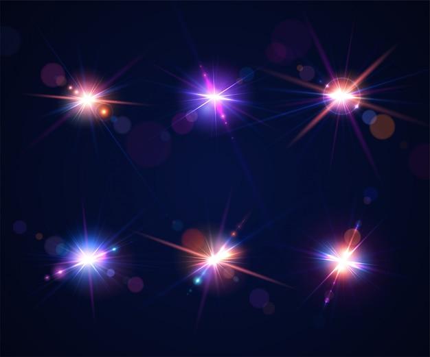 フラッシュとフレアの光の効果。太陽に対して撮影するときのカメラのレンズのまぶしさのセット