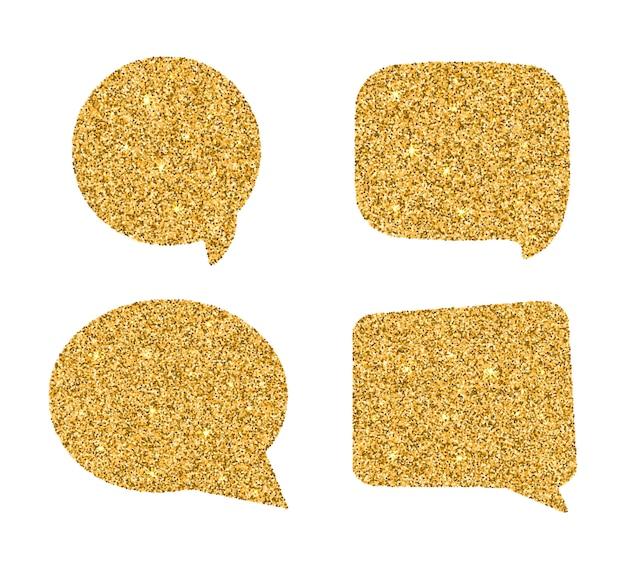 Набор золотых речевых пузырей.