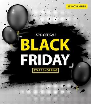 Черная пятница распродажа. дисконтный баннер с гранж-рамкой и воздушными шарами