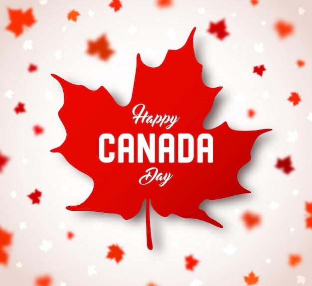 カナダの独立記念日。レタリングと赤いカナダのカエデの葉