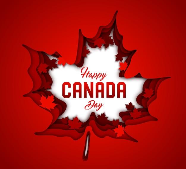 カナダの独立記念日。赤いカナダのカエデの葉のペーパーアート