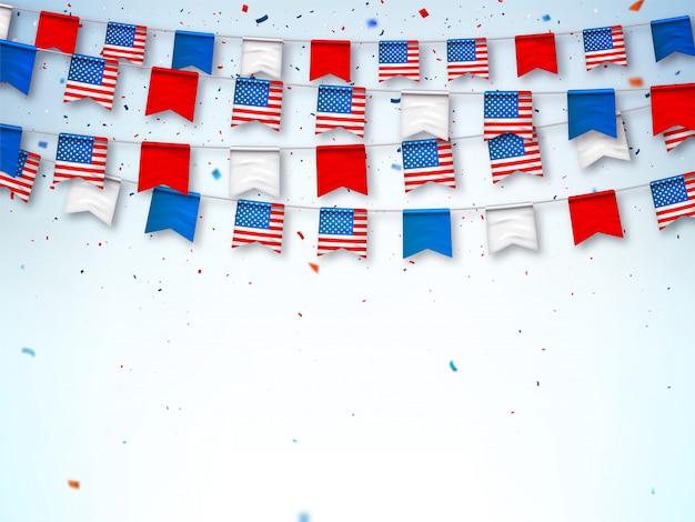 アメリカ国旗の花輪。国民の祝日を祝うためのバナー