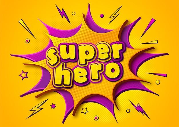 Супергерой комиксов постер. мультяшные мысли пузыри и звуковые эффекты. желто-фиолетовый баннер в стиле поп-арт