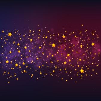 Векторный новогодний фон с золотыми звездами