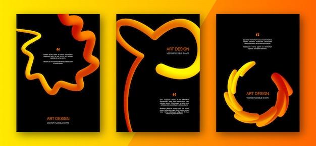 抽象的な黄色オレンジ色のグラデーション形状のチラシ