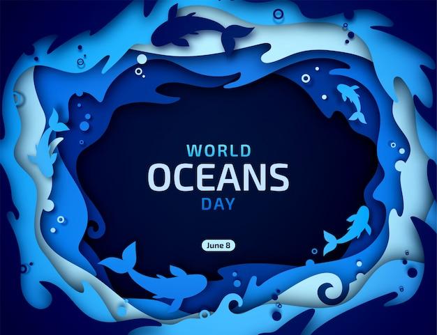 世界海洋デーの休日。海の波、魚、水の泡と紙の多層アート