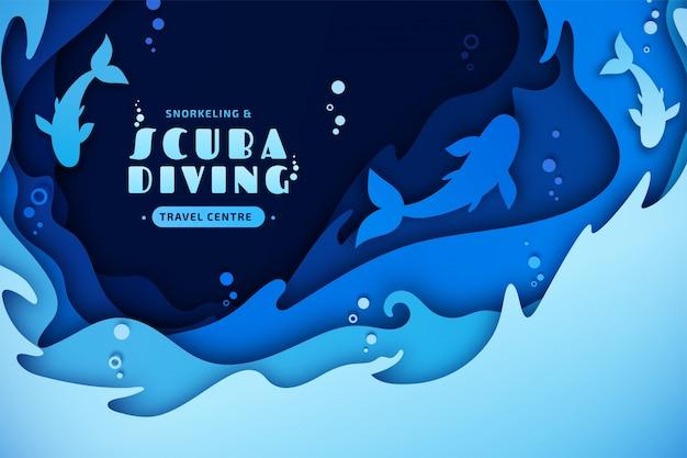 スキューバダイビング、シュノーケリング、海洋生物のペーパーアート。海の波、魚、水の泡と紙の多層アート
