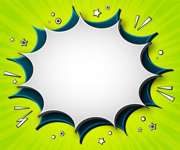 カラフルな漫画のバナー。緑の背景に漫画の吹き出し