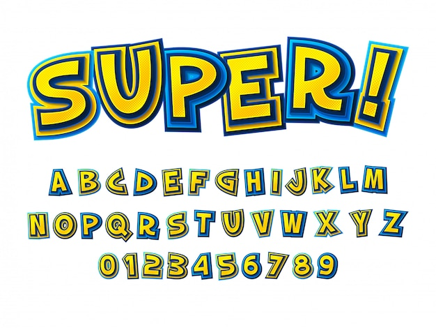 Комикс шрифт. мультяшный желто-синий алфавит