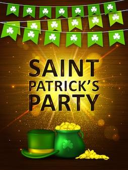 聖パトリックの日の背景。クローバー、コイン、緑の帽子とカラフルな花輪フラグ。休日のバナー
