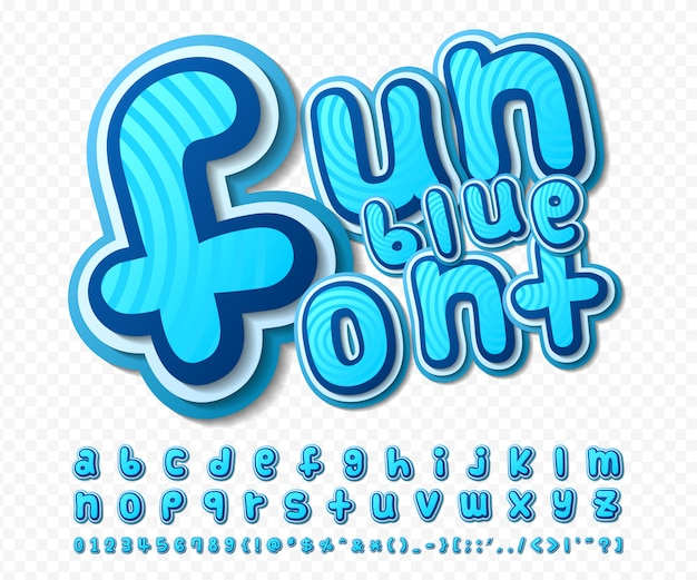 Комический шрифт синий алфавит в стиле комиксов, поп-арт. многослойные мультипликационные буквы и цифры