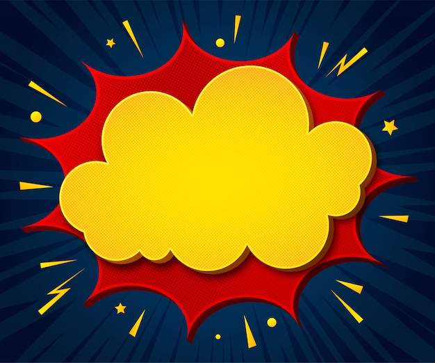 Мультяшный фон. плакат в стиле поп-арт с желто-красными речевыми пузырями с полутонами и звуковыми эффектами