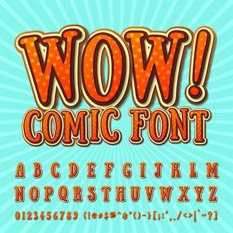 Комический шрифт оранжевый алфавит в стиле комиксов, поп-арт.