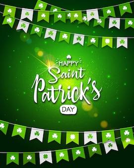 聖パトリックの日。緑色の背景でクローバーと休日の花輪