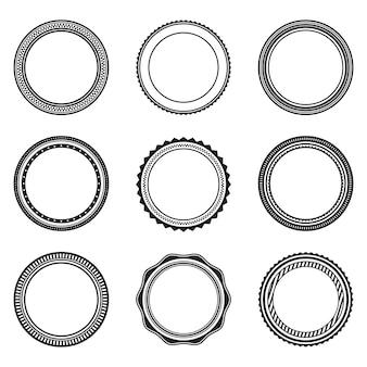 飾りと黒のビンテージ円形フレームのセット。抽象的な黒の境界線