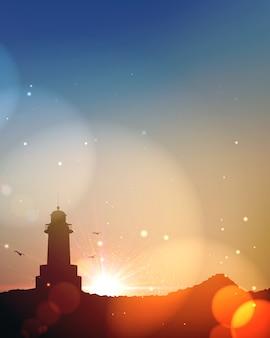 夏の海。日没または日の出で照明灯台と海の風景