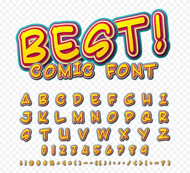 クリエイティブコミックフォント。ポップアートのスタイルのベクトルアルファベット