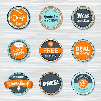 Набор старинных значков: бесплатная доставка, бесплатно, скачать, новая коллекция, сделка дня, забронировать сейчас.