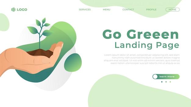 緑のフラットランディングページのイラストを行く