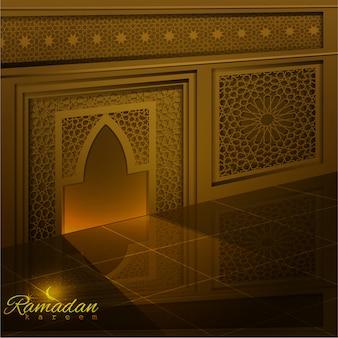 ラマダンカリームグリーティング背景モスクのドアと窓