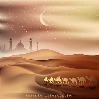 ラクダに乗ってアラビアの土地と砂漠