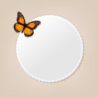 蝶の背景を持つフレーム