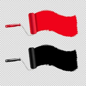 赤と黒のペイントローラーとペイントストローク透明な背景