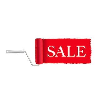 販売バナー赤いペンキローラーとペイントストロークホワイトバックグラウンド