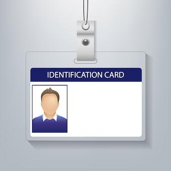 Удостоверение личности с фото человек, изолированный серый фон
