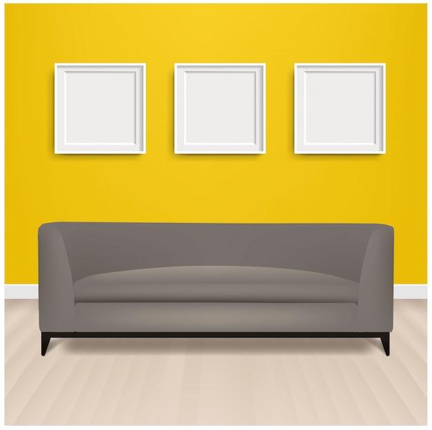 Серый диван-кровать с картинной рамкой и желтый