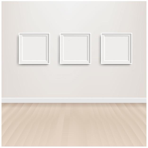Белый скандинавский интерьер комнаты и картина