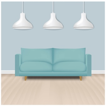 Мятный современный диван с лампами