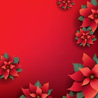 赤いポインセチアの花とクリスマスの背景