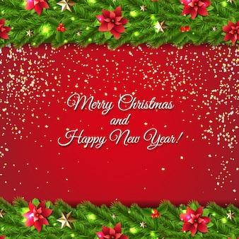モミの木の花輪のクリスマスカード