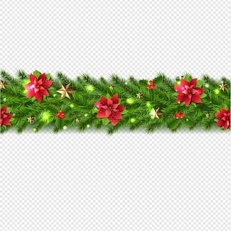 モミの木とクリスマスガーランド背景