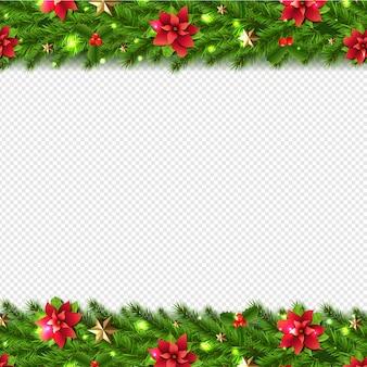 透明に分離されたクリスマスの花輪ボーダー