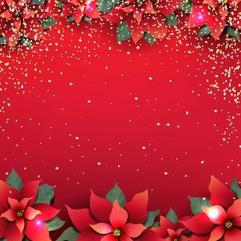 赤いポインセチアの花とクリスマスポスター