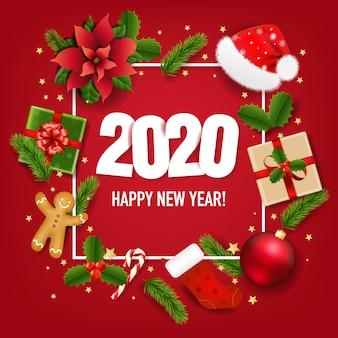 С новым годом баннер с пуансеттия