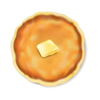 バターで分離されたパンケーキホワイトバックグラウンド