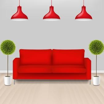 灰色の背景とラムズと赤いソファ