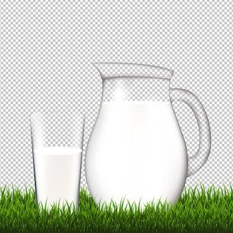 ガラスと草のボーダーの透明な水差し
